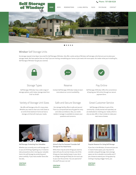 Self Storage of Windsor website